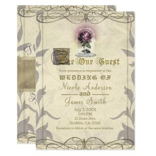 Be Our Guest Enchanted Rose Gold Vintage Wedding Invitation