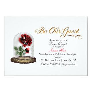 Be Our Guest Red Rose in Glass Elegant White Invitations