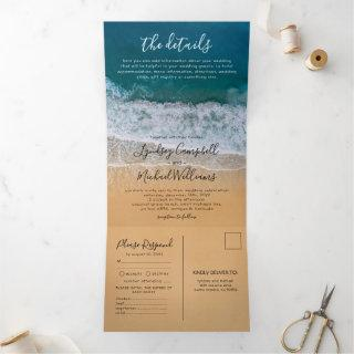 Beach 3 in 1 Destination Wedding Tri-Fold Invitations