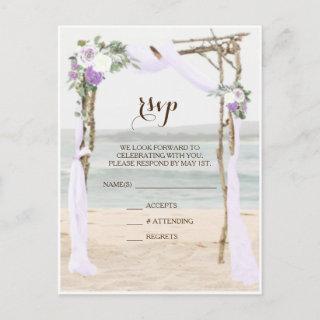Beach Arbor Lavender Wedding RSVP Postcard