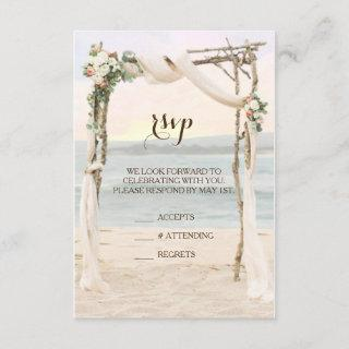 Beach Arbor Sunset Wedding Invitation RSVP Card