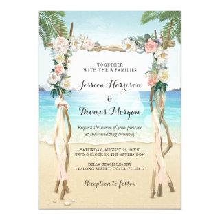 Beach Arbor Wood Arch Floral Tropical Wedding Invitation