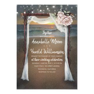 Beach Arch | Sea Sunset | String Lights Wedding Invitations