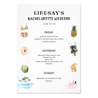 Beach Bikini Bachelorette Itinerary Invitation