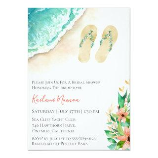 Beach Botanical Flip Flops Bridal Shower Invitation
