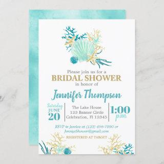 Beach Bridal Shower Teal and Gold Watercolor Invitations