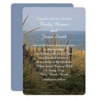 Beach fence in the sand dunes Invitations