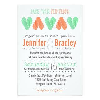 Beach Flip Flop Hearts Turquoise and Coral Wedding Invitation