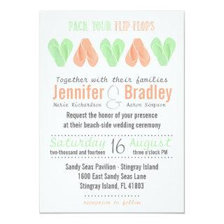 Beach Flip Flop Hearts Wedding Invitation Mint