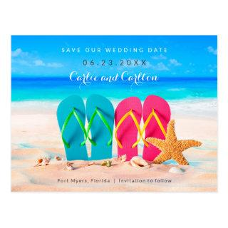 Beach Flip Flops on Sand Save the Date Postcard