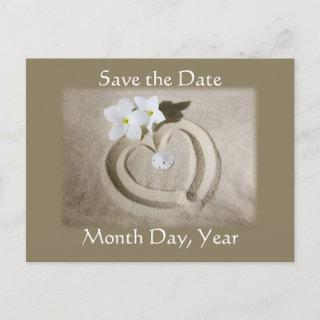 Beach Heart in Sand - Save the Date Wedding Announcement Postcard
