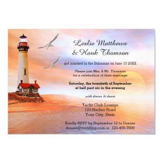 Beach Lighthouse Post or After Wedding Invitations