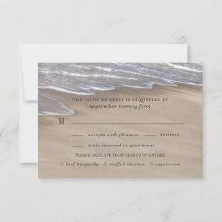 Beach Meal Choice Sand Hearts Elegant Wedding RSVP Card