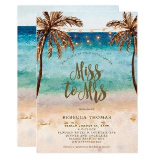 beach Miss to Mrs bridal shower Invitations