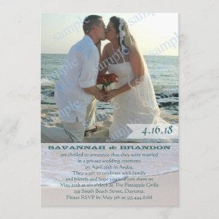 Beach Photo Marriage Announcement Reception Only