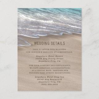 Beach Sand Hearts Elegant Tropical Modern Wedding Enclosure Card