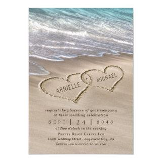 Beach Sand Hearts Elegant Tropical Modern Wedding Invitations