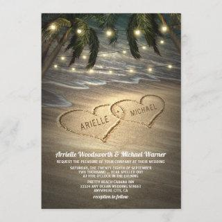 Beach Shore Hearts in the Sand Wedding Invitations