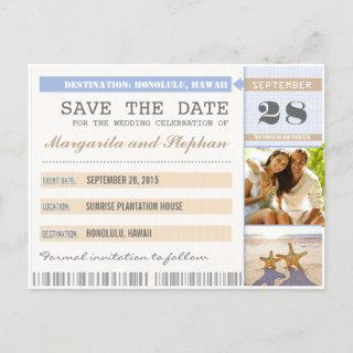 beach starfish & your photo save the date tickets announcement postcard