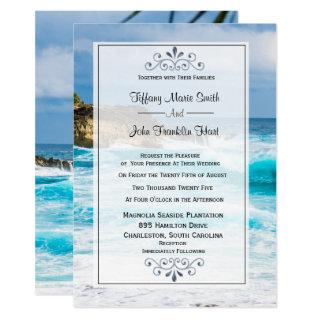 Beach Theme Wedding Invitation