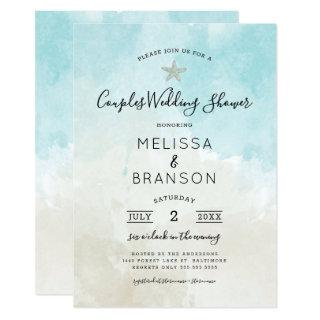 Beach Themed Watercolor Couples wedding shower Invitation