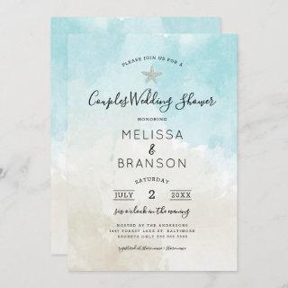 Beach Themed Watercolor Couples wedding shower Invitations