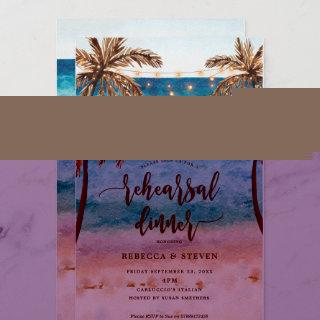 beach tropical modern rehearsal dinner Invitations