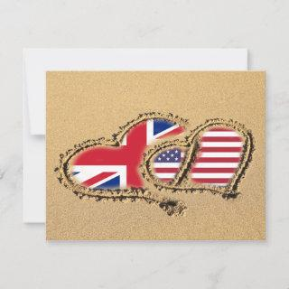 Beach UK And USA Love Hearts Save The Date