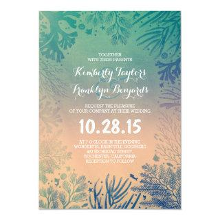 Beach Underwater Ocean Blue Corals Wedding Invitations