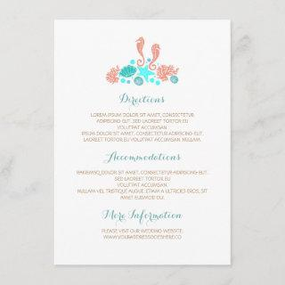 Beach Underwater Treasures White Wedding Details Enclosure Card
