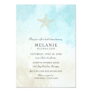 Beach Watercolor Bridal Shower Invitations