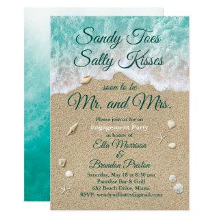 Beach Waves Sandy Toes Engagement Party Invitation