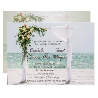 Beach Wedding Arbor Floral  Wedding  Invitations