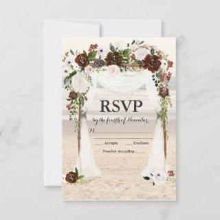 Beach Wedding Arbor RSVP card