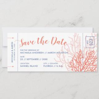 Beach Wedding Boarding Pass Save Date Coral Pink Announcement