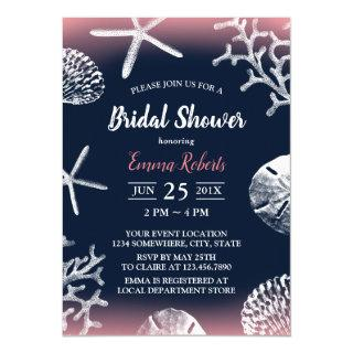 Beach Wedding Coral Reef Navy & Pink Bridal Shower Invitations