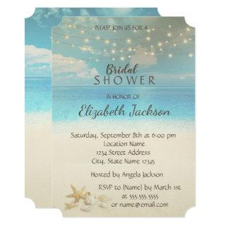 Beach Wedding Lights  Seashells Bridal Shower Invitations