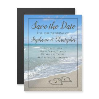 Beach Wedding Monogram Hearts in the Sand Magnetic