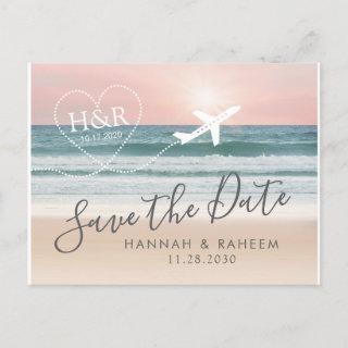 Beach Wedding Sunset Heart Airplane Save the Date Announcement Postcard