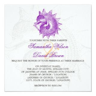 Beach Wedding Vintage Mollusk Shell Purple Invitations