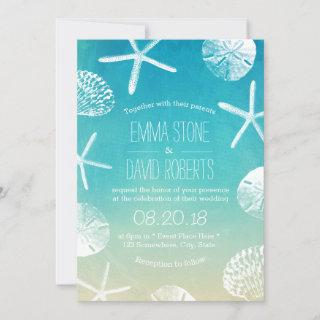 Beach Wedding Watercolor Starfish & Seashells Invitations