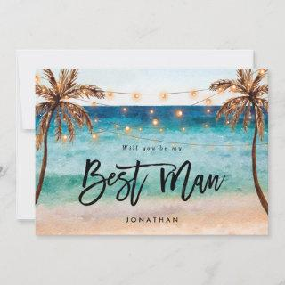 beach will you be my best man proposal card