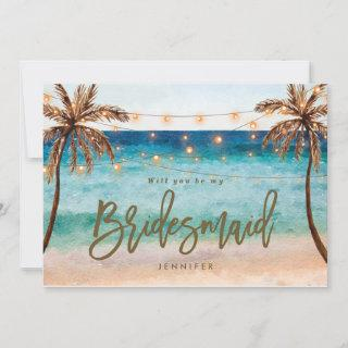 beach will you be my bridesmaid proposal card