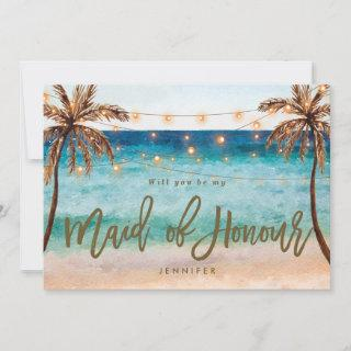 beach will you be my maid of honour proposal card