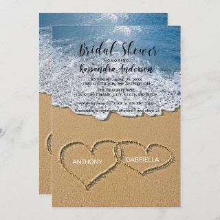 Beach With Hearts In The Sand Bridal Shower Invitation