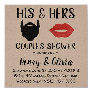Beard and Lips Couples Wedding Shower invitation
