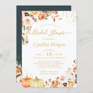 Beautiful Autumn Gold Floral Fall Bridal Shower