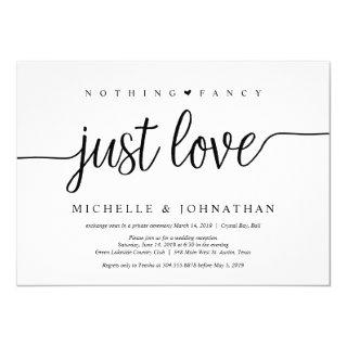 Beautiful Black Nothing Fancy Just Love, Elopement Invitation