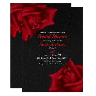 Beautiful Black Texture Red Roses Bridal Shower Invitations