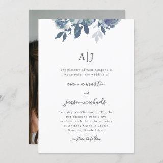 Beautiful Blue Floral with Monogram Photo Wedding Invitations